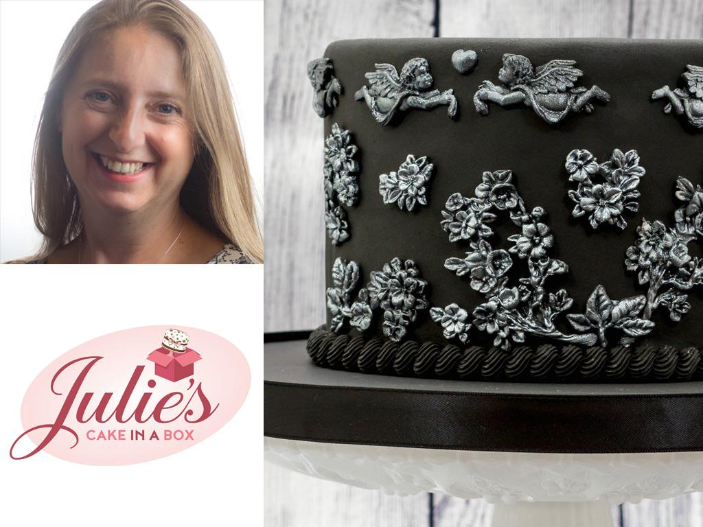 Black & Silver Bas-Relief Cake